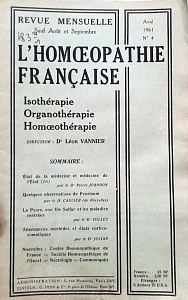 L´Homoeopathie francaise 1961 avril 4