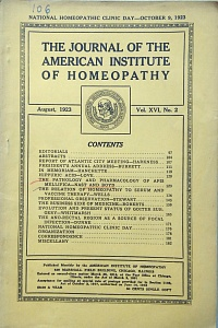 The Journal of the American Institute of Homeopathy, august 1923
