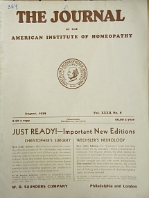 The Journal of the American Institute of Homeopathy, august 1939