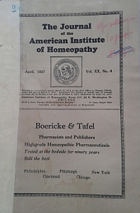 The Journal of the American Institute of Homeopathy, april 1927