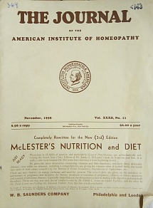 The Journal of the American Institute of Homeopathy, november 1939