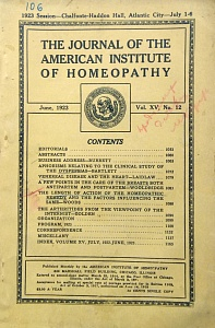 The Journal of the American Institute of Homeopathy, june 1923