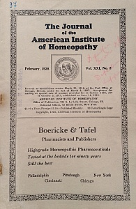 The Journal of the American Institute of Homeopathy, february 1928