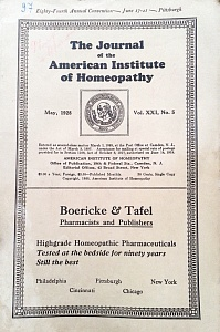 The Journal of the American Institute of Homeopathy, may 1928
