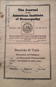 The Journal of the American Institute of Homeopathy, september 1927