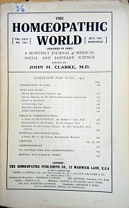 The Homoeopathic World, july 1931