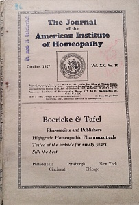 The Journal of the American Institute of Homeopathy, october 1927