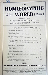 The Homoeopathic World, november,1931